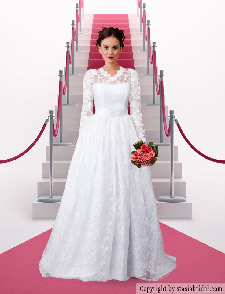 Modest wedding dress with sleeves, modest wedding gown Designer: Stasia Modest Couture- specializes in modest and plus size wedding gowns.