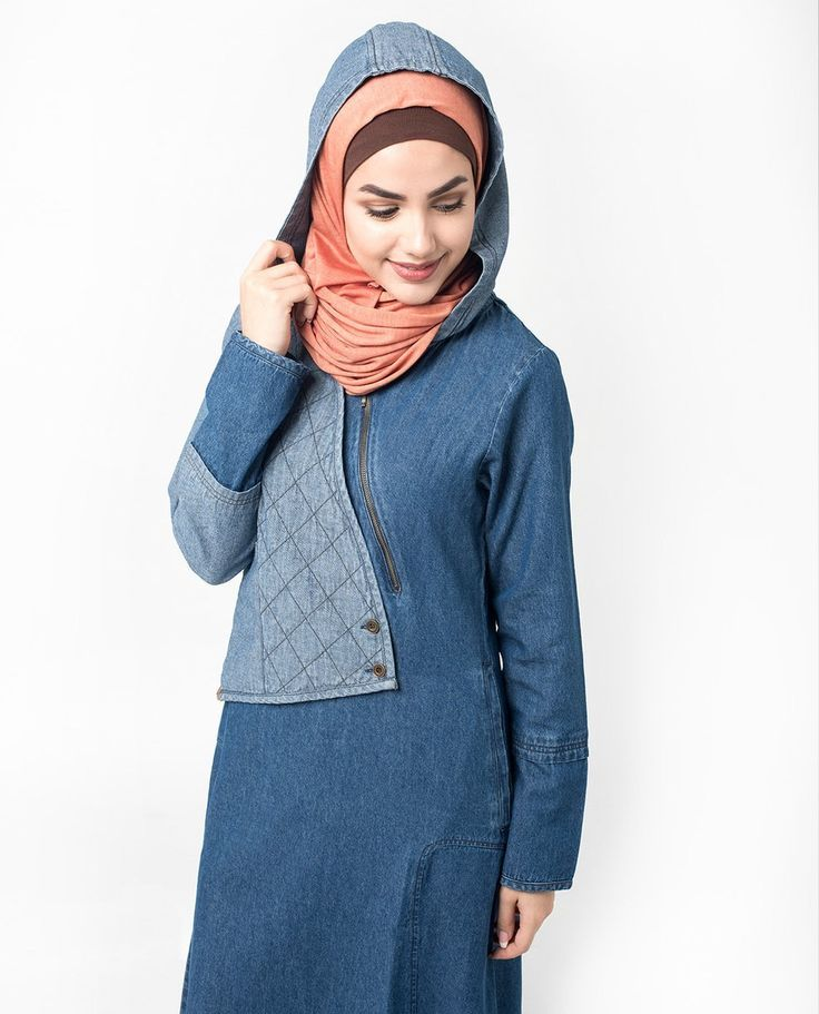 Fabulous Hooded Quilted Denim Abaya Jilbab