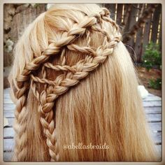 Waterfall braid twisted, then criss-crossed and lace braided into second braid - whew!