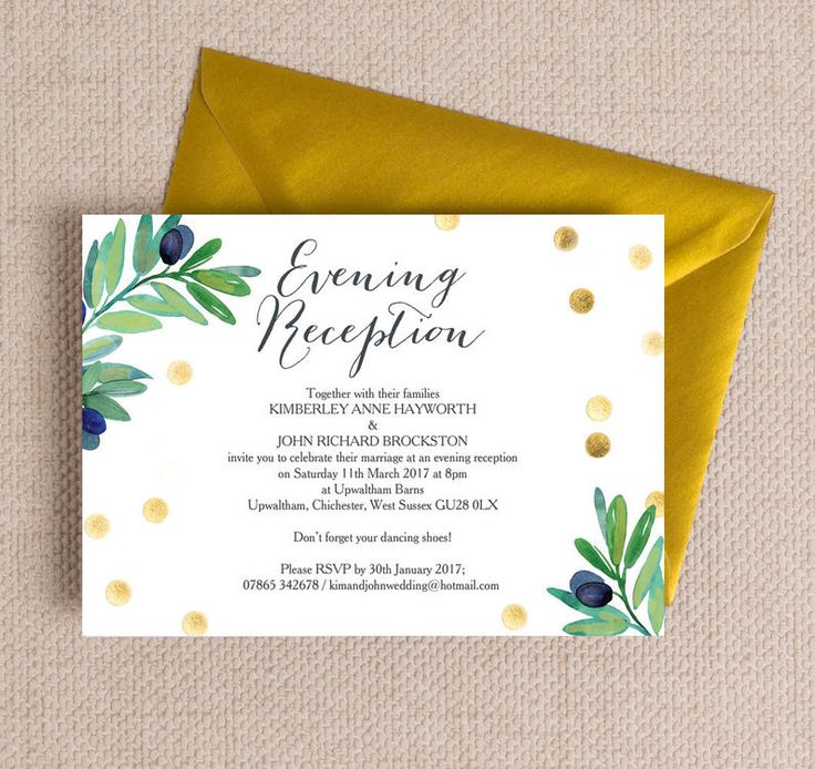 how to word evening wedding reception invitations%0A Olive Wreath Evening Reception Invitation