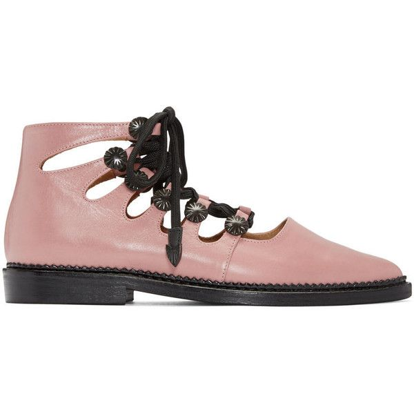 Toga Pulla Pink Open Lace Oxfords ($455) ❤ liked on Polyvore featuring shoes, oxfords, light pink, oxford shoes, light pink shoes, pink lace shoes, lace cutout oxford and lace shoes