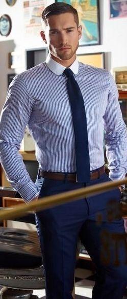 Men S White And Blue Vertical Striped Dress Shirt Navy