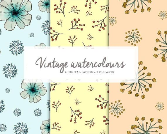 6 Digital papers and 3 wreaths vintage por DoubleColors en Etsy