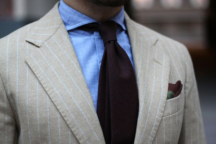 How to combine - Brown wool tie with flannel suit.