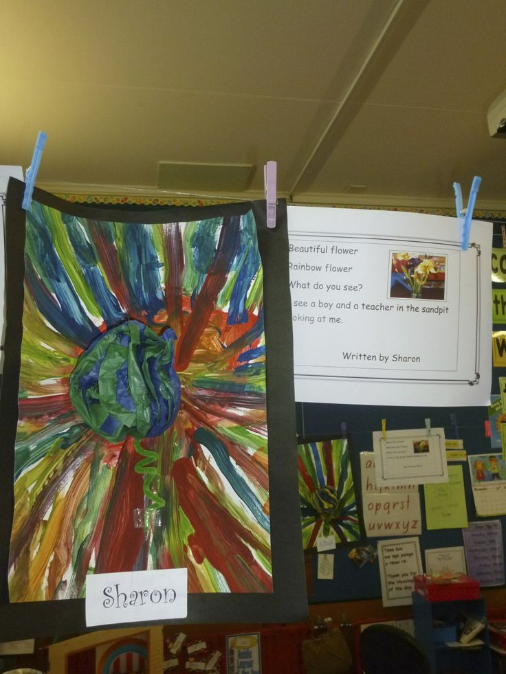 Here the children wrote poetry about flowers, painted their flower and made a paper flower to stick in the middle. They looked great!