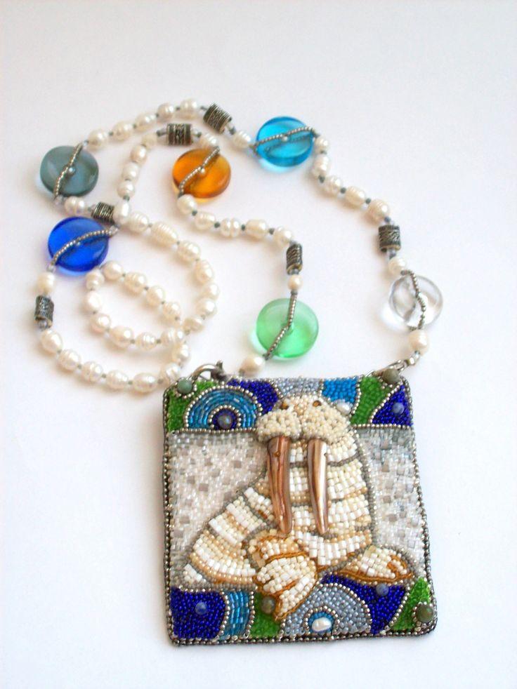"Helen Kolomoets. Brooch-pendant ""White walrus"". Bead embroidery. Елена Коломоец  Брошь-Кулон ""Белый морж""."