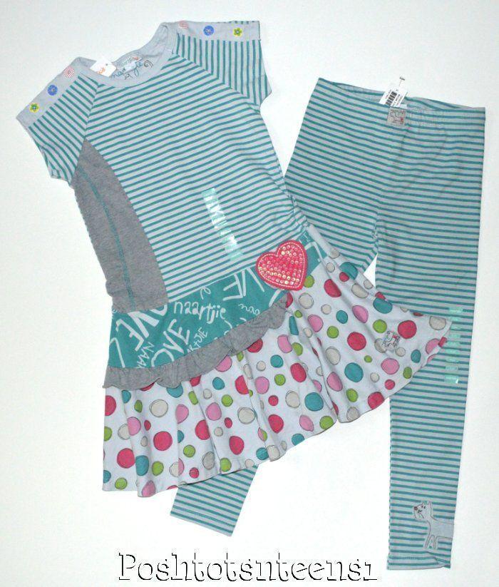 Naartjie Spots and Stripes Meow Spot Dress Stripe Leggings Set 6 NWT NEW sl1-2 #Naartjie #1valueperline