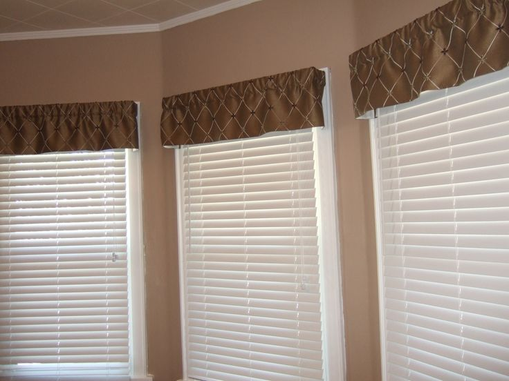 Interior Traditional Brown Valance Combined White Acrylic Venetian Blinds Valances for Living Room Windows