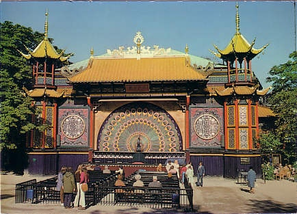 The Pantomime Theater in Tivoli, Copenhagen. A very unique stage/theatre. Do come and see a performance - it's free when you visit Tivoli.