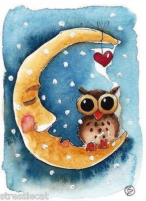 ACEO Original Watercolor Folk Art Illustration Whimsical Owl Moon Heart Snow | eBay