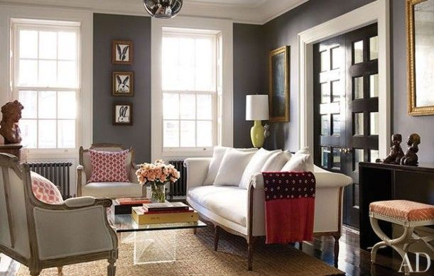 Brooke Shields NY townhouse living room ~ Benjamin Moires ~ Chelsea Gray
