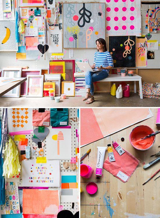 Rachel Castle's colorful studio, from Hannah Blackmore Photography