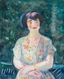 Márffy Ödön - Nyáriruhás nő szabadban, 1930 körül