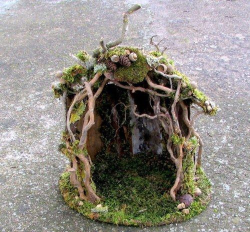 fairy house would be great to do in a mini garden. the kids would enjoy doing this
