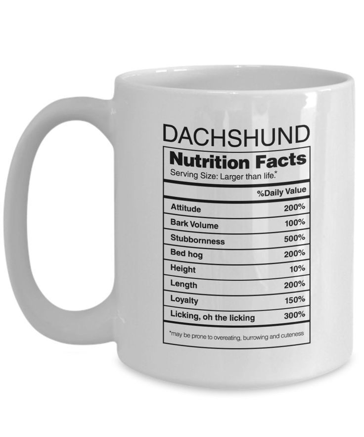 Doxie Got Moxie - Dachshund Gifts Nutrition Facts - Weiner Dog Coffee Mug  : Find it Now Amazon {affiliate}