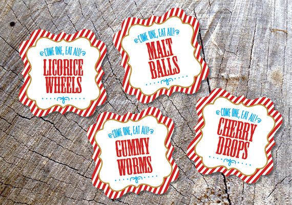 Candy Buffet tags Circus Candy Table Tags by DesignCircus