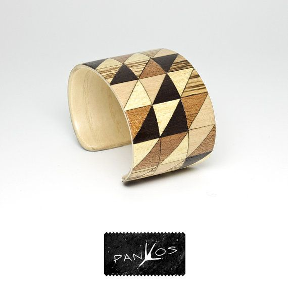Oliver Twist - wood bracelet. Triangular pattern jewelry geometric art. Wooden art mosaic bracelet. Wooden bracelet, cuff bracelet modesty on Etsy, $29.90