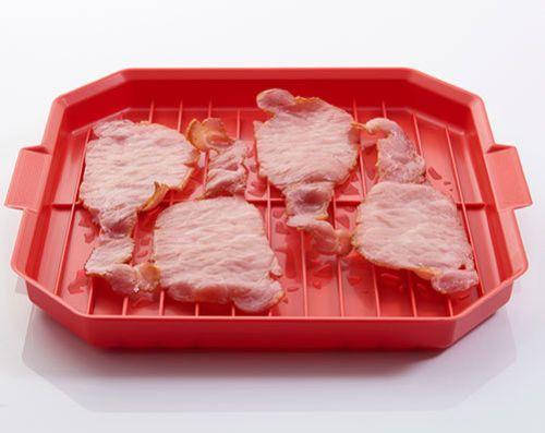 Microwave Bacon Rack Tray Plate Crisper Cooker Kitchen Gadget Tool Utensil Red