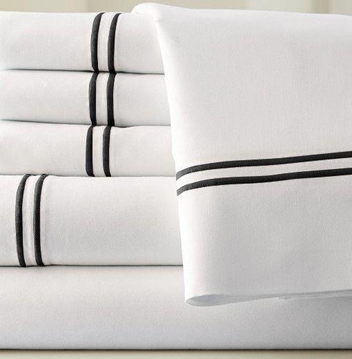 1000 Thread Count Egyptian Cotton Sheet Set 4pc (White/Black) King