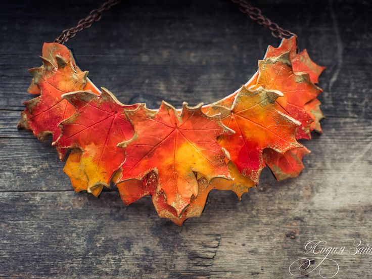 Maple Leaf Statement necklace Bib necklace  bright necklace autumn necklace polymer clay necklace large necklace orange red gold necklace by ZaiZaiJewelry on Etsy https://www.etsy.com/listing/295337497/maple-leaf-statement-necklace-bib