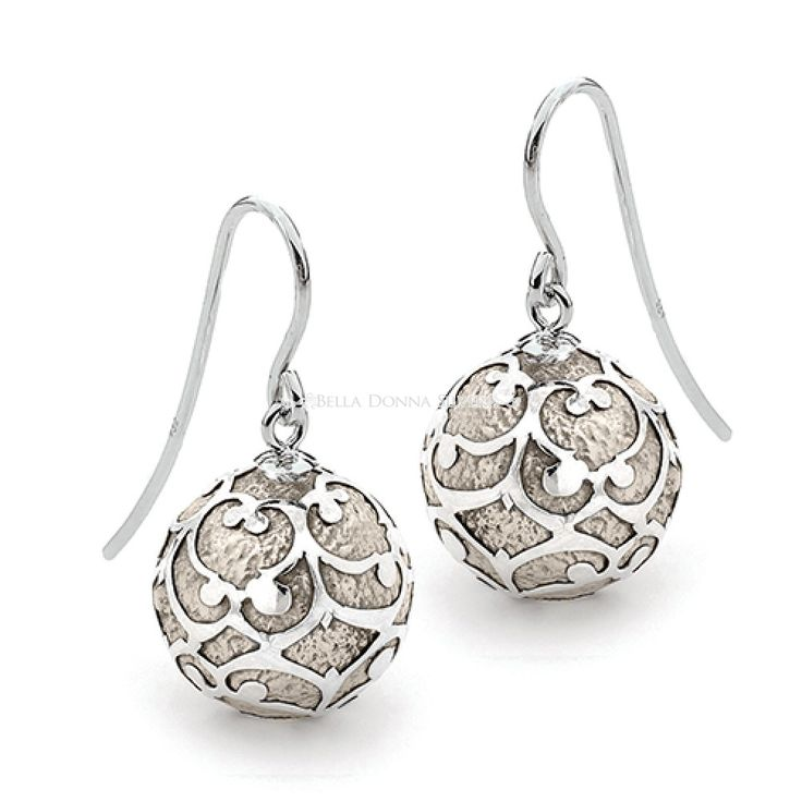 Antique Silver Lace Harmony Ball Earrings by Bella Donna Silver