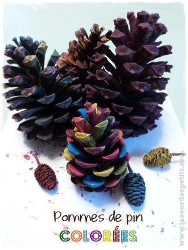 Activité peinture sur pommes de pin : du #natureart à portée de tous. http://www.lacourdespetits.com/activite-peinture-pommes-pin/ #peinture #kidscraft #painting
