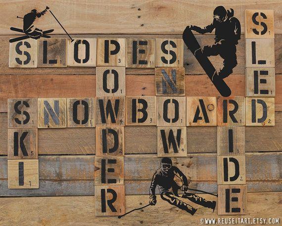 Winter Sports Skiing Snowboarding Graphic Pallet Art by ReUseItArt, $20.00