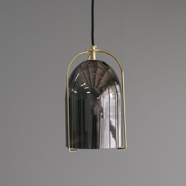 Black Glass Bell Pendant Light