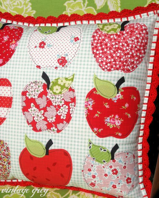 apple applique and look at the crocheted trim!