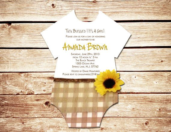 Unique Sunflower Baby Shower Invitation by TriciasTroves on Etsy