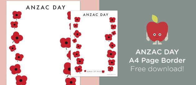 Free Teacher Resources - Anzac Day Page Border.  A page border template that can be printed and photocopied in colour to create beautiful displays. Use these page borders as templates for writing about about the events of Anzac Day, or even as a record of how the pupils in the school have commemorated the Anzac Day Centenary. http://www.teachersuperstore.com.au/free-teacher-resources/free-download-anzac-day-page-border/