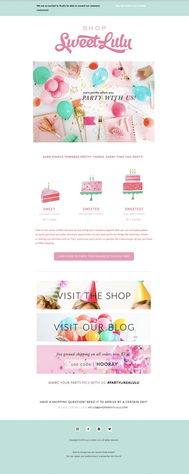 Sweet Lulu invites customers to join the (rewards) party with this fun and festive email.