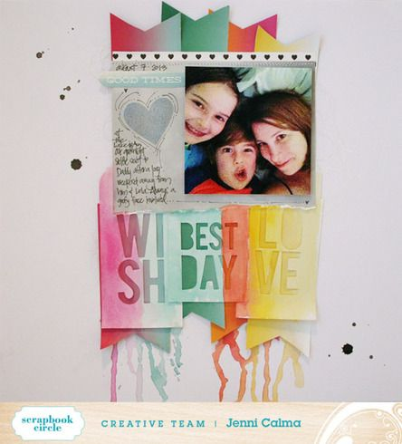 This colorful layout by Jenni Calma used the Color Wash collection by Pink Paislee.