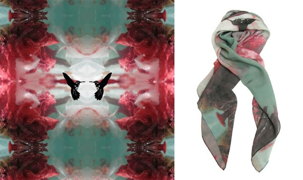 Colibri Noblesse Silk Scarf  Yes, this is symbolic read Sofi's story. Arlette was drawn to the vibrancy of this scarf and the birds as they always represent freedom, power, 'follow your bliss'