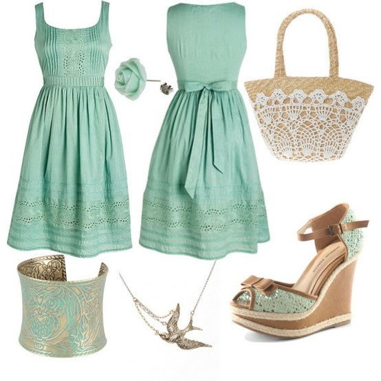 perfect summer outfit...cute!: Shoes, Mint Green, Style, Green Outfits, Colors, The Dresses, Robins Eggs Blue, Bags, Summer Ideas
