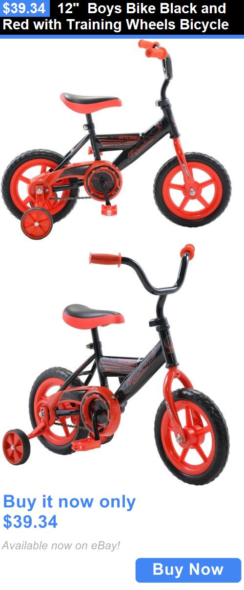 sporting goods: 12 Boys Bike Black And Red With Training Wheels Bicycle BUY IT NOW ONLY: $39.34