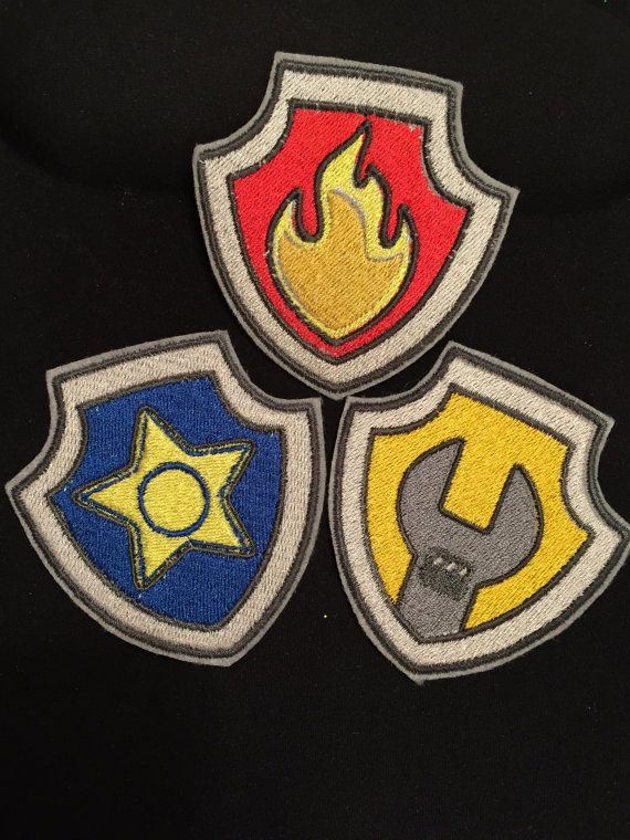 PAW Patrol BADGES for Marshall, Chase, Skye, Rocky, Zuma, Rubble, Ryder and helmet finished machine embroidered patches. Ship FREE to U.S.A.  Patch