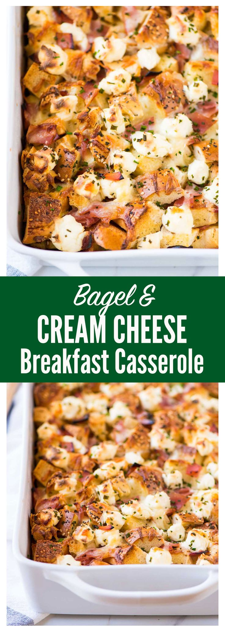 Everything Bagel and Cream Cheese Breakfast Casserole. Easy make-ahead breakfast recipe that's perfect for a crowd! Recipe at wellplated.com | @wellplated