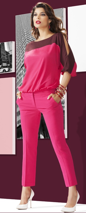 NY's favorite pant - the 7th Avenue Slim Ankle. The slim, cropped leg is elongated even more with a high heel & matching fuchsia top; the tone-on-tone palette creates a lean, uncluttered silhouette.