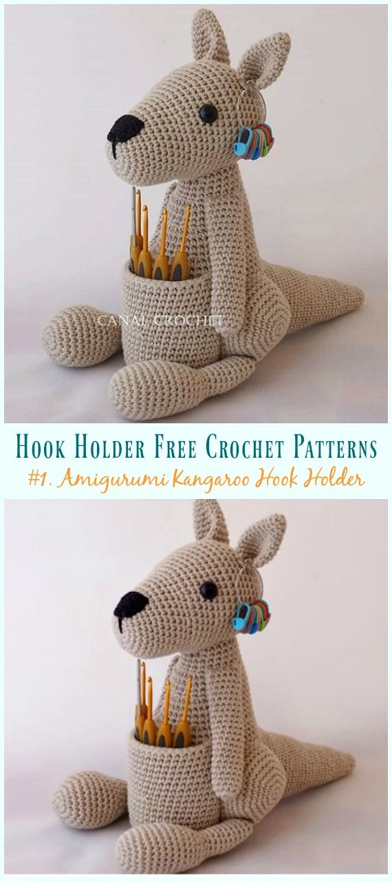 Amigurumi Kangaroo Hook Holder Crochet Free Pattern