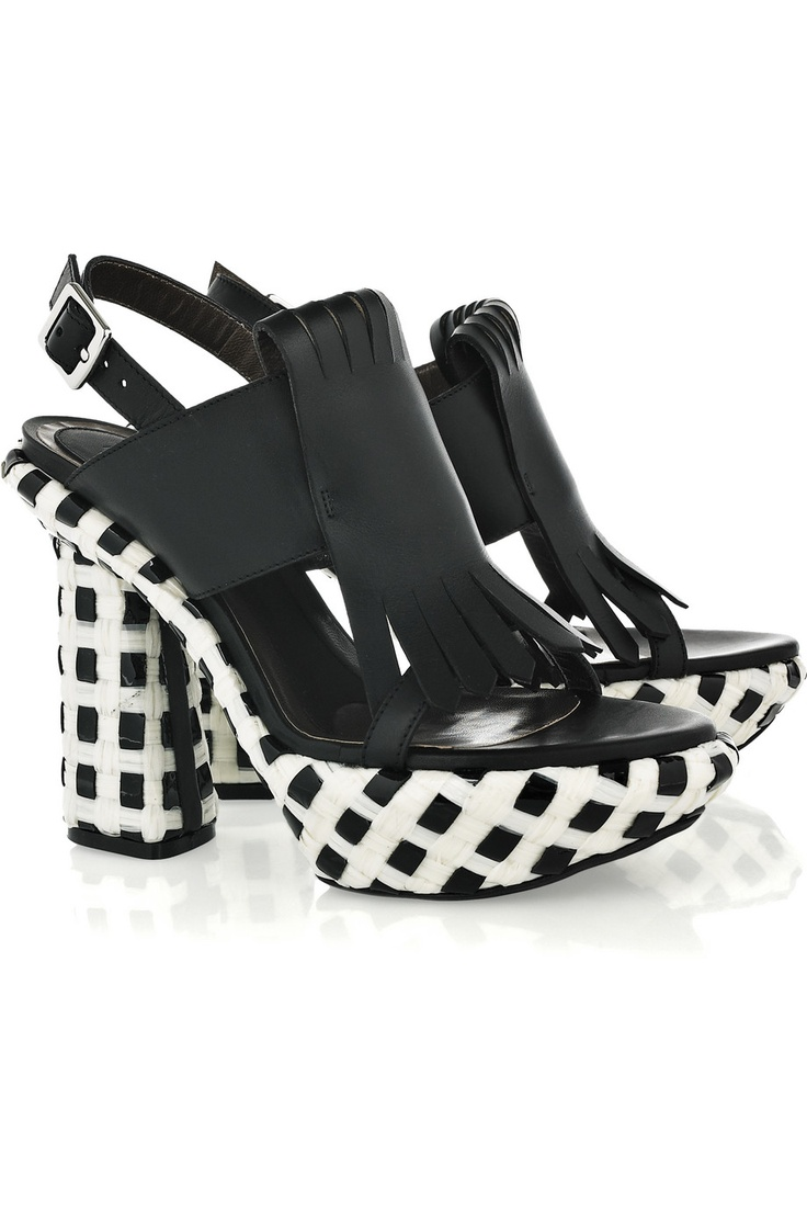 MARNI Checked leather and acetate platform sandals $830