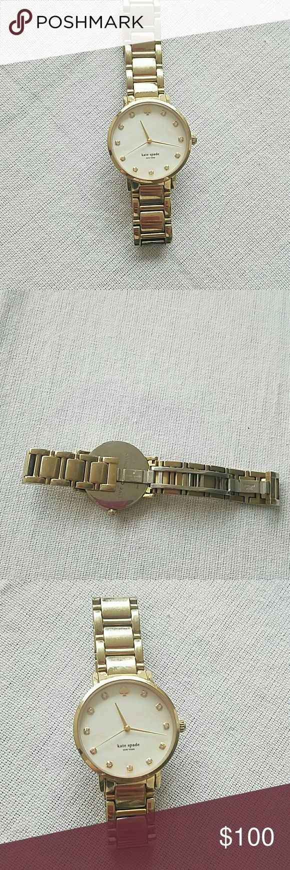 Kate spade gold watch Gently worn, gold Kate spade watch. Fashionable with every outfit! Does require a new battery. kate spade Accessories Watches