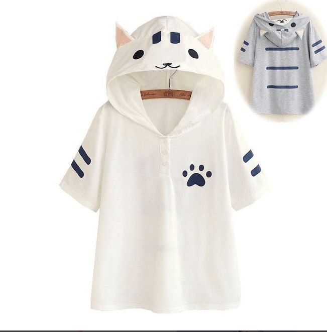 "Cute cat hooded T-shirt Coupon code ""cutekawaii"" for 10% off"