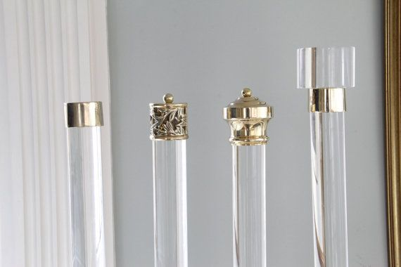 This listing includes: - 1.5 diameter lucite rod ( up to 48 long) - 2 qty brass brackets (solid cast brass) - 2 qty lattice finials (solid cast brass)