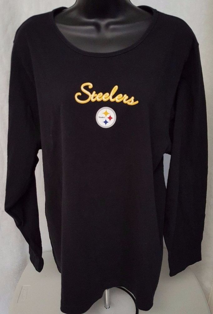 NFL Woman's Black/Yellow/White Pittsburgh Steelers Shirt Size 1X #NFL #PittsburghSteelers