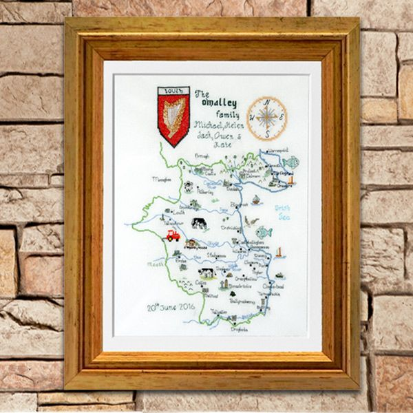 Add a unique touch to your home with this exquisite hand embroidered map of your county. I personally custom embroider each design and can add your house  / village / town to the map.  Embroidered with cotton floss on 100% cotton evenweave cloth and hand stretched on foamboard backing. Mounted with antique white matting and set in a fully glazed elegantly rustic antique gold wood frame.   I personally design and stitch each map so you will receive a totally unique creation.