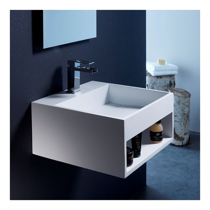 Lavabo avec rangement en solid surface Kent 50x50 cm - Plomberie sanitaire chauffage                                                                                                                                                                                 Plus