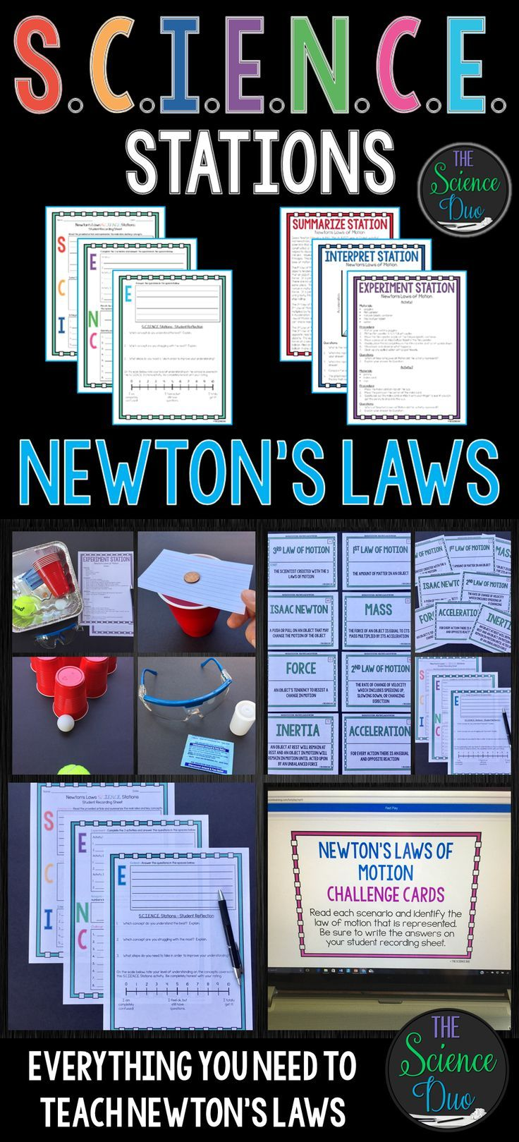 This Newton's Laws of Motion S.C.I.E.N.C.E. Station activity is designed to get your students engaged, collaborating, and moving in your daily lesson. Each station provides a different method for reinforcing important science content. These stations will have students Summarize, Create, Interpret, Experiment, Navigate, Challenge, and Extend.