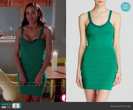 Rosie's green bandage dress on Devious Maids.  Outfit Details: http://wornontv.net/50257/ #DeviousMaids