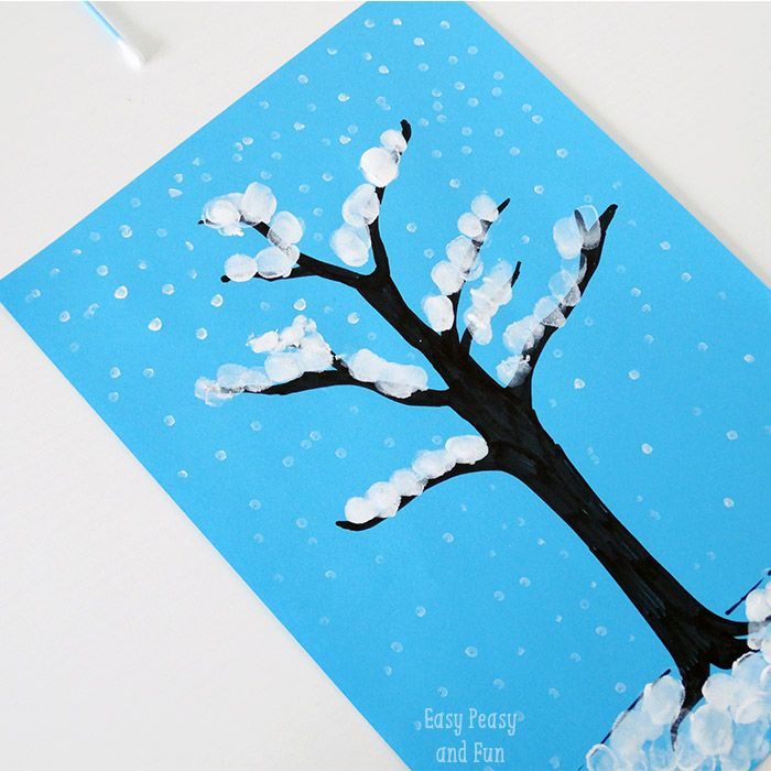 Winter Tree Finger Painting